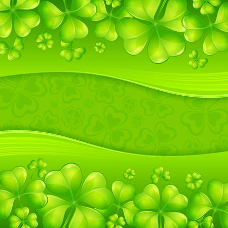 leafed: Clover leaf background in green & text, vector illustration for St. Patricks day