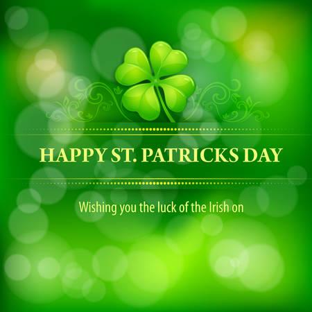 four leafed clover: Clover leaf background in green, vector illustration for St. Patricks day