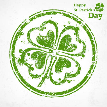leafed: Four leaf clover grunge in round, vector illustration for St. Patricks day