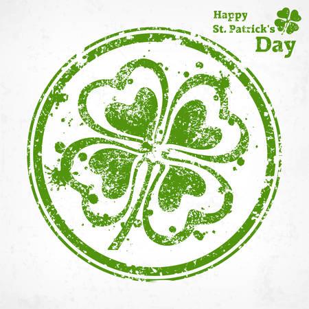 four leafed clover: Tr�bol de cuatro hojas del grunge en la ronda, ilustraci�n vectorial para el d�a de San Patricio