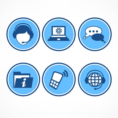 call center female: Customer service icons in blue on white, vector illustration Illustration