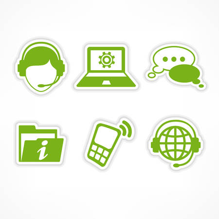 customer service phone: Customer service icons in green on white, vector illustration Illustration