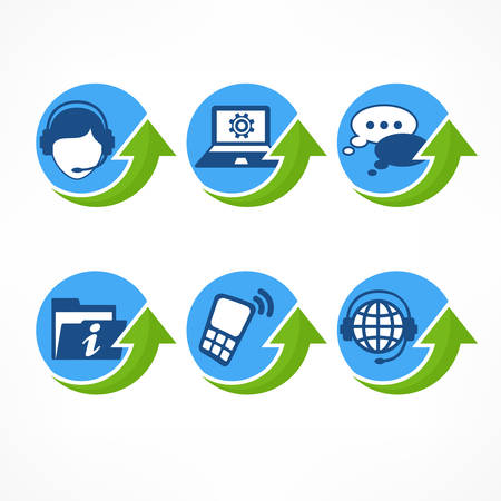 green arrow: Customer service icons in blue with green arrow, vector illustration