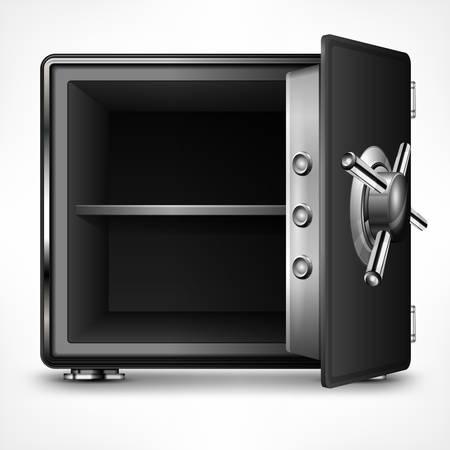caja fuerte: Banco caja fuerte abierta vacía en blanco, ilustración vectorial