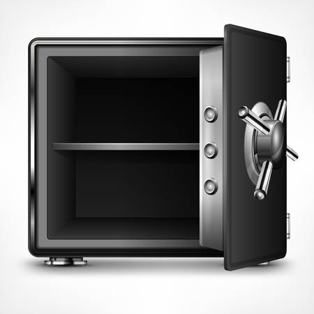 Bank open safe empty on white, vector illustration Vettoriali