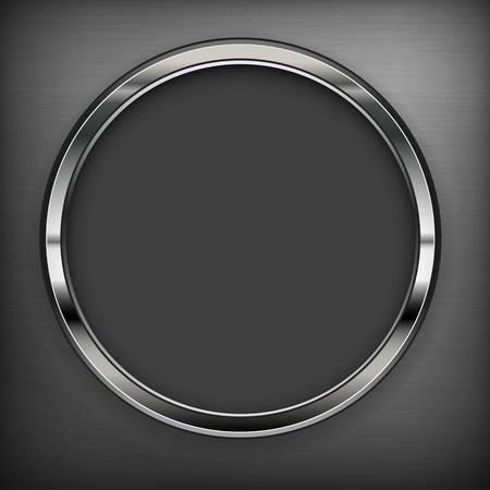 Circle metallic design elements on black, vector illustration