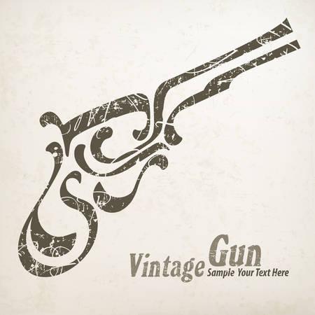vintage gun: Painting vintage gun on white & text, vector illustration Illustration