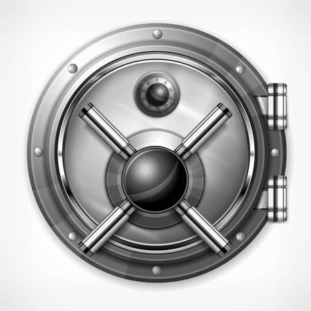 bank protection: Bank round metallic vault on white, vector illustration