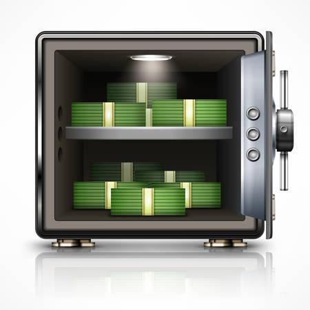 caja fuerte: Abra la caja fuerte con los d�lares en blanco, ilustraci�n vectorial Vectores