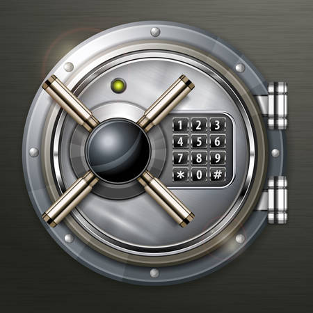 Bank round metallic vault on dark, vector illustration
