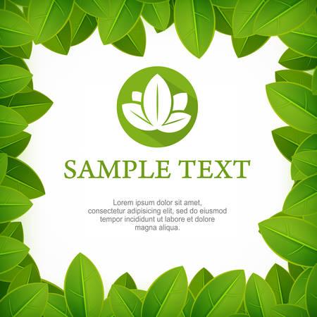 green leaves border: Spring frame, fresh green leaves border on white, vector illustration