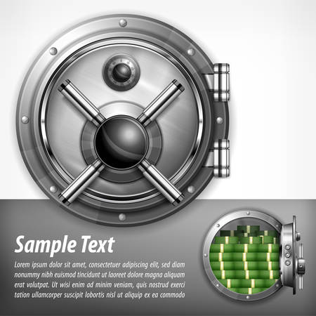 secrecy: Bank round metallic vault on white & text, vector illustration