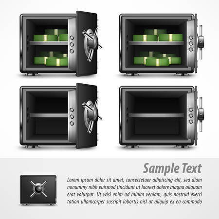 secrecy: Bank open safes empty and with money on white, vector illustration