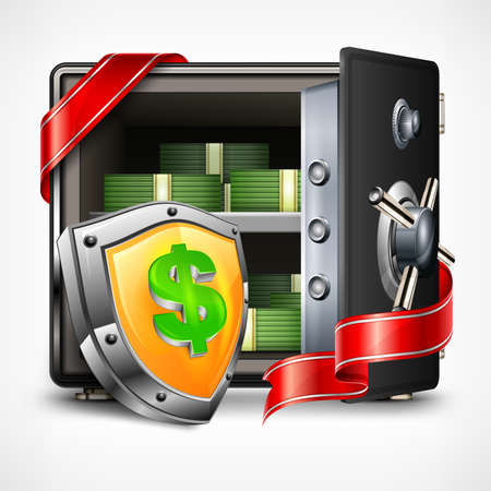 secrecy: Bank open safe with money, security concept, vector illustration