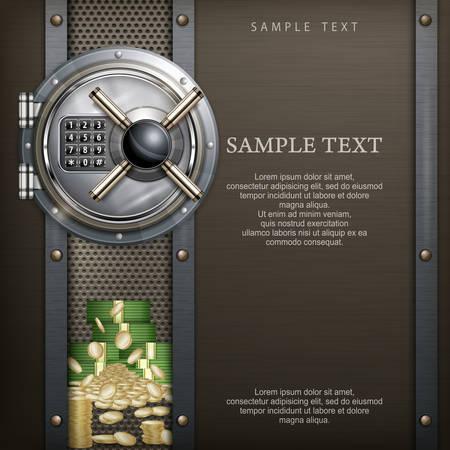 caja fuerte: Banco b�veda redonda sobre met�lica con dinero, el concepto de seguridad, ilustraci�n vectorial