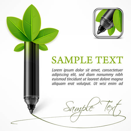 felt: Ecology concept - felt pen with leaves & text, vector illustration