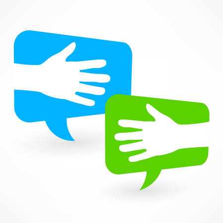 idea bubble: Handshake icon in speech bubble on white, vector illustration