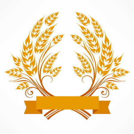 wreath of wheat: Stylized ears of wheat wreath on white, vector illustration