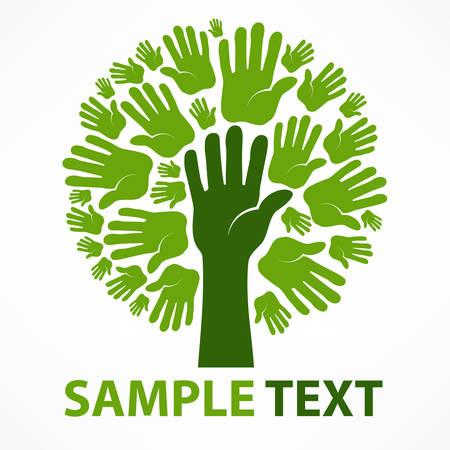 educacion ambiental: Manos de árbol de color verde sobre fondo blanco y texto, ilustración vectorial