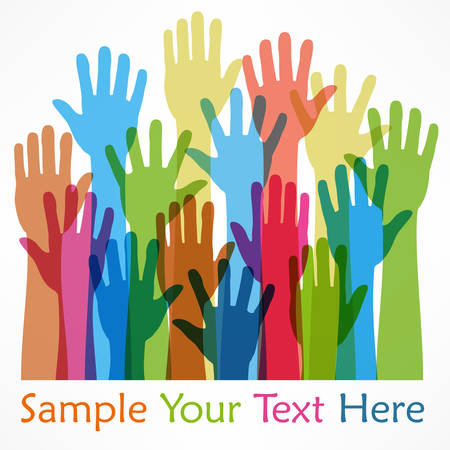 raised hands: Raised hands color, on white, vector illustration