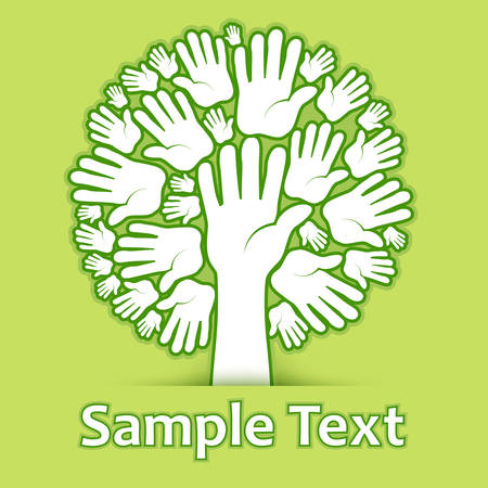 environmental issues: Hands of tree on green color background, vector illustration
