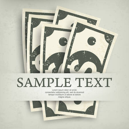 bank notes: Paper bank notes, money signs on grey & text, vector illustration