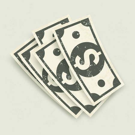 bank notes: Paper bank notes, money signs on grey, vector illustration Illustration
