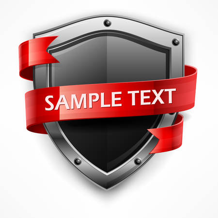 escudo: Escudo metálico con la cinta roja y el texto en blanco, ilustración vectorial Vectores