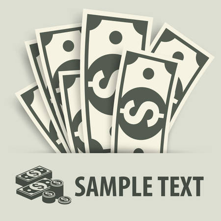 bank notes: Paper bank notes and coins, money signs & text, vector illustration