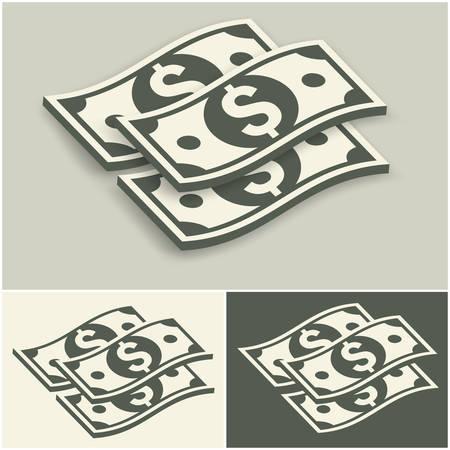 bank notes: Paper bank notes set, money signs on grey, vector illustration