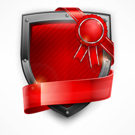 ribbon frame: Metallic shield with red ribbon and award on white, vector illustration Illustration
