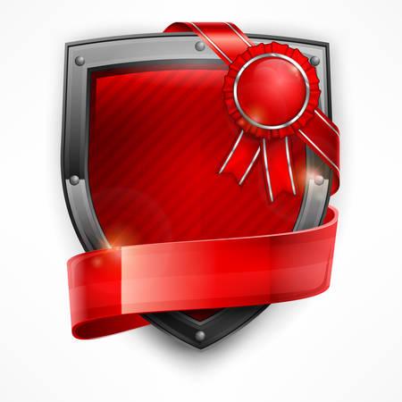 badge ribbon: Metallic shield with red ribbon and award on white, vector illustration Illustration