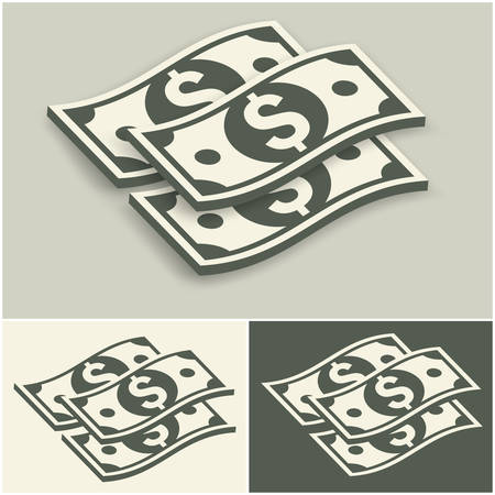 set of money: Paper bank notes set, money signs on grey, vector illustration