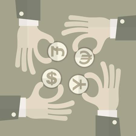 yen note: Hand Exchange Money signs, business idea, vector illustration
