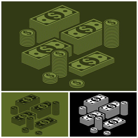 money stack: Piles of money stack, dollar and coins set, vector illustration Illustration