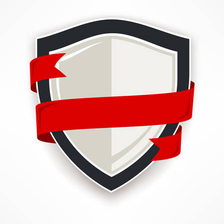 Shield with red ribbon on white, flat vector illustration