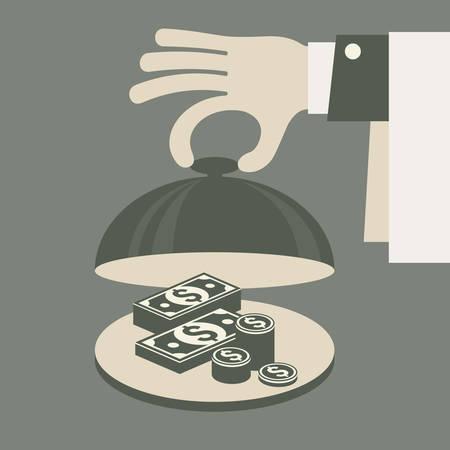 banco dinero: Concepto de negocio, dinero en bandeja, ilustración vectorial