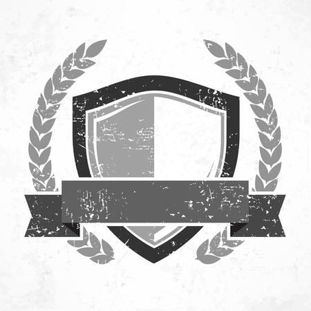 escudo: Blindaje con la cinta y el laurel en grange, ilustración vectorial plana