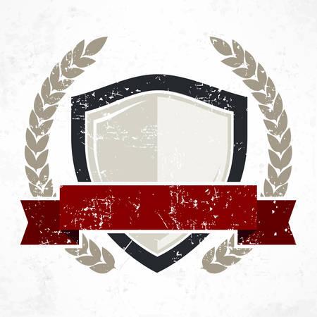 grange: Shield with red ribbon and laurel in grange, flat vector illustration