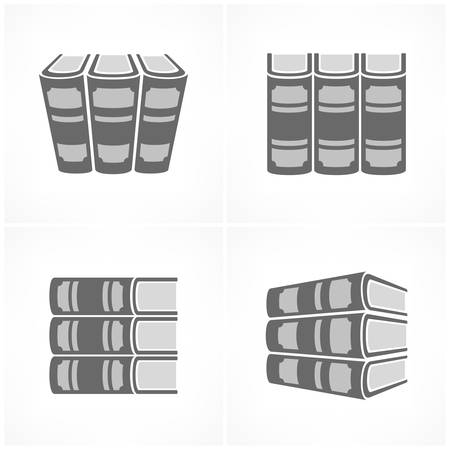 athenaeum: Stack of books in gray color on white, vector illustration