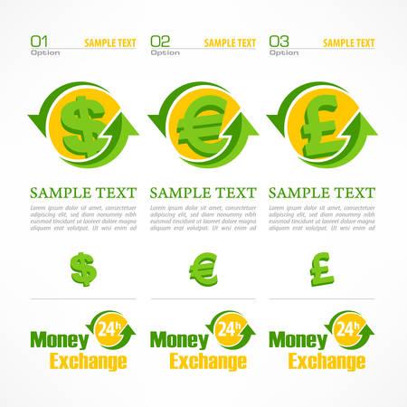 conjunto: Dinero símbolo infografía, dinero firma con la flecha en el blanco, ilustración vectorial