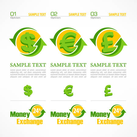 currency: Money symbol infographic, money signs with arrow on white, vector illustration