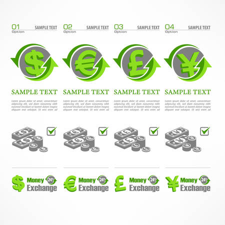 bank notes: Money signs with arrow and bank notes on white, vector illustration Illustration