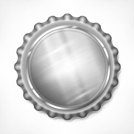 caps: Metallic bottle cap isolated on white background, vector illustration
