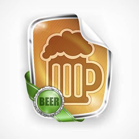 frothy: Stylized glass mug of  light beer on label, vector illustration