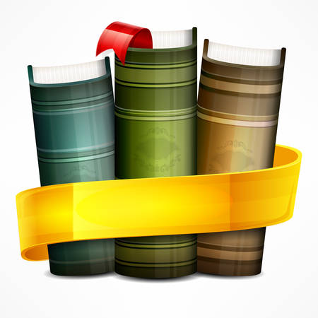 Stack of books with yellow ribbon on white, vector illustration