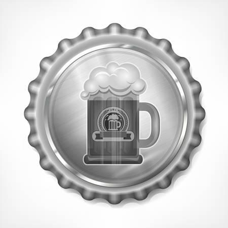 mug: Metallic bottle cap with beer mug on white, vector illustration