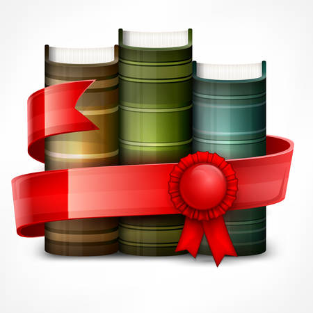 Stack of books with red ribbon on white, vector illustration