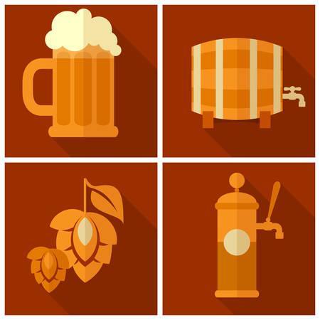 Beer glass with barley and hop cones, Oktoberfest set, vector illustration