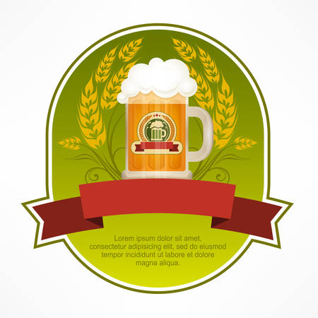 cold drinks: Green label with beer in glass mug and red ribbon, vector illustration